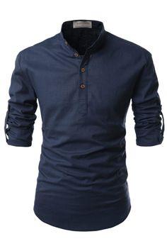 Navy Blue Mens Henley Mandarin Collar Roll-Up Long Sleeved Linen Shirt Casual Shirts For Men, Men Casual, Henley Shirts, Mandarin Collar, Slim Fit, Long Sleeve Shirts, Menswear, Mens Fashion, Fashion Trends