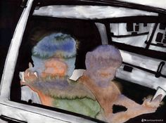 """""""The two friends in car"""" acrylic and ink on paper"""