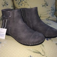 NWT Croft&Barrow grey ankle booties Cutest ever soft leather grey boots! Croft&Barrow  cushioned footbed for extra comfort! Grey boots with slightly lighter grey stitching. Sturdy black bottoms. Size women's 6.5 zippers on the inside and small fashionable strap with silver buckle. These are super super cute and amazingly comfortable! New with tags just tried on. Croft & Barrow Shoes Ankle Boots & Booties