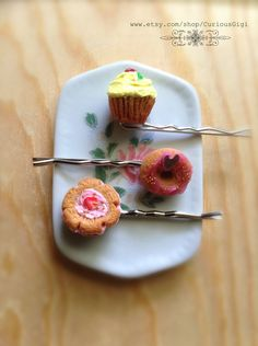 Strawberry cookie, donut, cupcake hair accessories Bobby pin Polymer clay art by CuriousGigi on Etsy