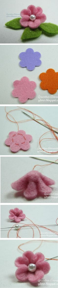 Cute and easy to make felt blossom.