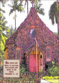 little stone church on the island of kaui, hawaii...beautiful colors