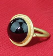 stunning super rare Viking 10th century solid gold ring with a cabochon garnet