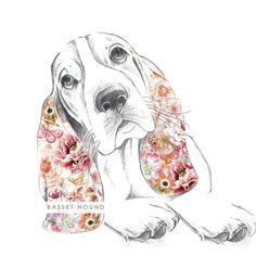 original_floral-basset-hound-fine-art-print.jpg (900×900)