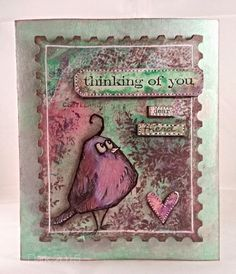Sketching Stamper - a gorgeous card with Tim Holtz quirky bird stamp.