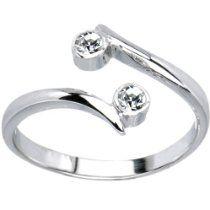 Solid 14K White Gold .02 Carat Genuine Diamond Adjustable Toe Ring