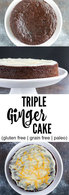Delight your friends and family with this sweet and spicy triple ginger cake. Real food ingredients. Gluten free. Grain free. Paleo.