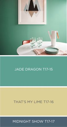 This colorful kitchen uses a vibrant shade of Jade Dragon from BEHR's collection of 2017 Color Currents. Use complementary colors like That's My Lime and Midnight Show to keep this bright room feeling modern and sophisticated. Check out the rest of the shades in this collection and design the perfect color palette for your home by using the ColorSmart tool to preview a room before you even start painting.