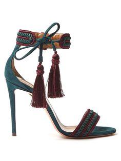 GABRIELLE'S AMAZING FANTASY CLOSET | Aquazurra Teal Sued Sandals with Mulberry Trim