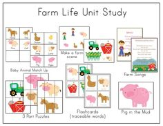 Unit Study: Farm Life --- Oh this looks so  fun for preschool! A highlight could be visiting a friend's real farm to see some real farm animals and a real tractor, etc. Oh preschool fun! :)