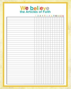 Article of Faith Tracking Chart for activity days-The yellow printed too faint, I ended up making my own spreadsheet Primary Activities, Activities For Girls, Primary Lessons, Church Activities, Summer Activities, Family Activities, Activity Day Girls, Activity Days, 13 Articles Of Faith
