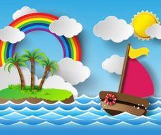 Sailing boat with marine cartoon vectors 04
