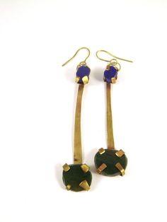 Boboli, earrings 2013 Red brass, pigment infused resin stones