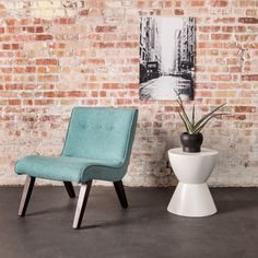Inspired by the simple lines of mid-century decor, this lovely armless chair features a design that only retains the essential. The comfortably padded seat and backrest are shaped for comfort, while t