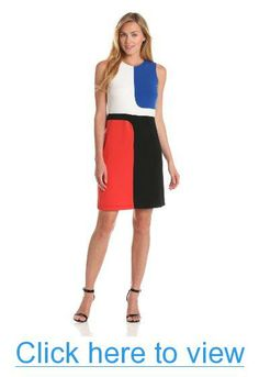 Donna Morgan Women's Sleeveless Sheath Dress with Color Blocking #Donna #Morgan #Womens #Sleeveless #Sheath #Dress #Color #Blocking