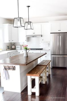 [orginial_title] – Denise Hogan DIY Kitchen Benches No matter how small your space is, get inspiration from our small kitchen island ideas and tips to add more function to your kitchen with an island Kitchen On A Budget, Kitchen Redo, Kitchen Dining, Kitchen Cabinets, Kitchen White, Kitchen Countertops, White Countertops, Kitchen Paint, White Kitchens