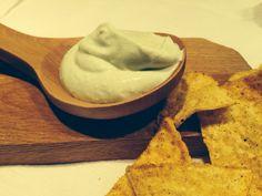 Tortilla with homemade dip. Cheese cream, cow milk cheese, avocado, yogurt