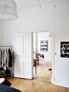 wood floor transition between rooms