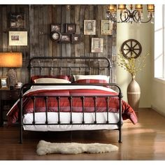 @Overstock.com.com - This bed frame features seven spindles in the headboard and footboard with elegance crafted casting at each joint. The metal bed creates a unique modern style that is sophisticated, yet simple and can be accented to compliment any decor.http://www.overstock.com/Home-Garden/Giselle-Metal-Bed/7720291/product.html?CID=214117 $305.99.