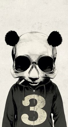 BW Panda Skull ★ Find more Black & White Android + iPhone Wallpapers @prettywallpaper