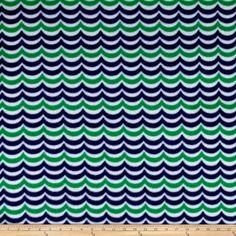Sail Away Waves Fleece Navy/Green Fabric