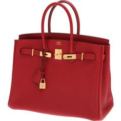 Hermes 35cm Rouge Garrance Togo Leather Birkin Bag with | Lo ...