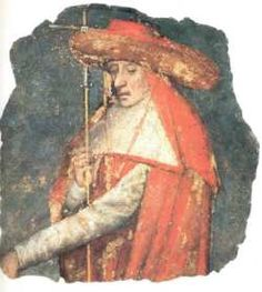 Basel: cardinal. Wearing Hermes Garb (Red hat and red cloak which represents him as a messenger to the God(s)).