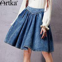 Artka mujeres de otoño Color sólido del todo fósforo de la falda lavado plisada elástico de la cintura figura favorecedor de la falda QN15052Q 11.11