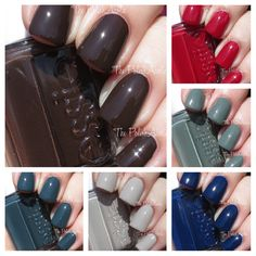 """The PolishAholic: Essie Fall 2014 Dress To Kilt Collection Swatches & Review. Main picture: """"Partner in Crime"""". Clockwise from top: """"Dress to Kilt"""" (red) --""""Fall in Line (dusty camo green) -- """"Style Cartel"""" (dark blue creme) -- """"Take it Outside"""" (taupe/grey/beige) -- """"The Perfect Cover Up"""" (dark green)"""