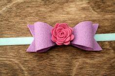 Bow Headband, Felt Bow Headband, Pastel Headband, Pink, Lavender, Lilac, Mint, Felt Flower on Etsy, $6.95