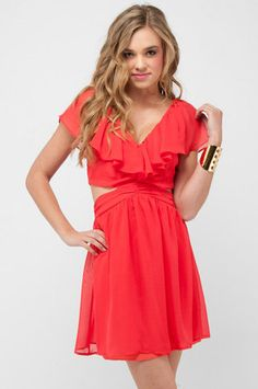 Love this dress!!!!!  Ruffled Cutout Dress in Coral Red $82 at www.tobi.com