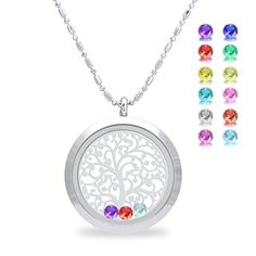 Family Tree of life Screw Floating Charm Living Memory Locket Pendant, Stainless Steel Toughened Glass Birthstone Crystal Necklace (Smooth) * See this great image @