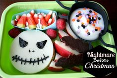 Fun Halloween lunch ideas here. Nightmare Before Christmas lunch!