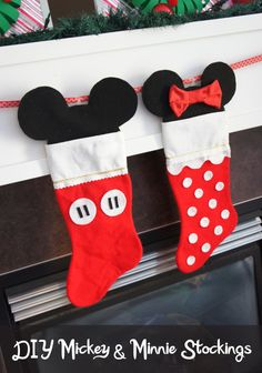 From Disney ornaments and stockings to Disney Christmas trees, the holiday season won't be complete without these DIY Disney decorations that show Mickey, Minnie, and your other favorite characters. Disney Stockings, Disney Christmas Stockings, Baby's First Christmas Stocking, Babies First Christmas, Kids Christmas, Christmas Balls, Nordic Christmas, Christmas Candles, Bricolage Noel