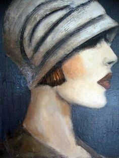 Elise by Mo Welch Pinturas Art Deco, Art Deco Paintings, Acrylic Paintings, Oil Paintings, Art Deco Illustration, Art Deco Posters, 1920s Art Deco, Painting People, People Art