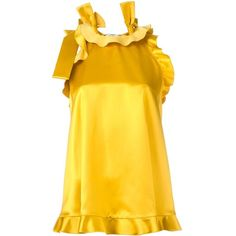 Fendi ruffled blouse ($1,250) ❤ liked on Polyvore featuring tops, blouses, yellow, yellow sleeveless top, frill blouse, ruffle blouse, ruffle top and yellow top