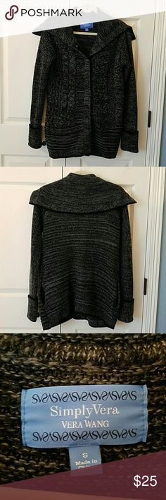 Simply Vera Vera Wang Sweater EUC Pretty black and gray sweater jacket. Has cuffed long sleeves. Side pockets. Snaps down the front. Only worn twice. No flaws. Sweaters Cardigans