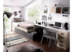 Habitación Juvenil con Nido cajones y Escritorio