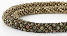 Bead Crochet Necklace with Bugle Bead Slide by Susan Jefferson