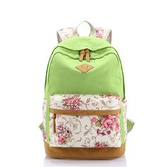 Scione Canvas Women School Bag Backpacks for Girls Mochila Escolar Flower Printing Computer Laptop Backpack School Rucksack P112