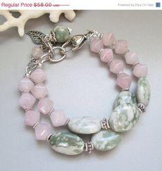 25 OFF SALE Pink Quartz Jasper and Silver Bracelet by nina68, $43.50