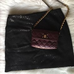 """Black Sequined Mini Two front pockets and back zipper, fully lined. See last pic for materials. Gently loved, no snags or tears. {measurements: waist 34"""" length 18""""} Ann Taylor Skirts Mini"""