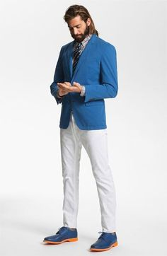 Shop this look on Lookastic:  http://lookastic.com/men/looks/dress-shirt-tie-blazer-chinos-derby-shoes/7679  — Light Blue Plaid Dress Shirt  — Black Vertical Striped Tie  — Blue Blazer  — White Chinos  — Blue Leather Derby Shoes