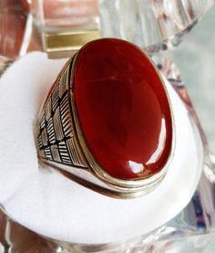 Liver color aqeeq akik Yemeni Yamni yamani same type worn By Rasool Ullah Saww. Silver Ring Designs, Mens Silver Rings, Sterling Silver Jewelry, Gold Rings, Silver Gifts, Oxidized Silver, Gold Jewelry, Man Jewelry, Stone Jewelry