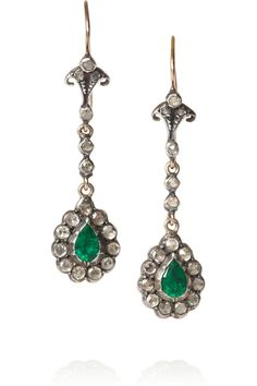Heirlooms-Victorian silver, diamond and emerald earrings