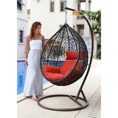 Island Gale Hanging Basket Chair Outdoor Front Porch Furniture with Stand and Cushion (Brown Wicker, Orange Cushion) Nest Chair, Egg Swing Chair, Hanging Swing Chair, Hammock Chair, Swinging Chair, Chair Cushions, Swing Chairs, Arm Chairs, Garden Chairs