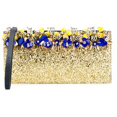 Marni Glitter Clutch Bag ($815) ❤ liked on Polyvore featuring bags, handbags, clutches, cocktail purse, sparkle handbags, glitter handbags, floral print purse and floral clutches