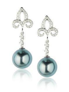 Radiance Pearl 18K Gold 9mm Tahitian South Sea Pearl and Diamond Earrings