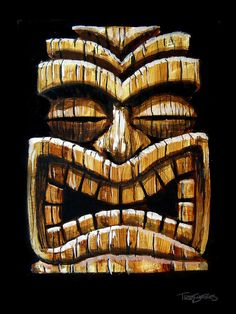 Tiki Painting - Tiki Head by Trey Surtees
