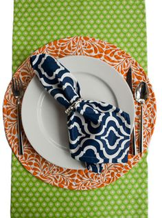 Hen House Linens Spot On Lime Orange. Anchor the look with Bargello Navy!